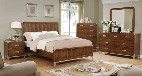 Tychus Transitional Dark Oak Solid Wood Master Bedroom Set FOA-CM7559-BR