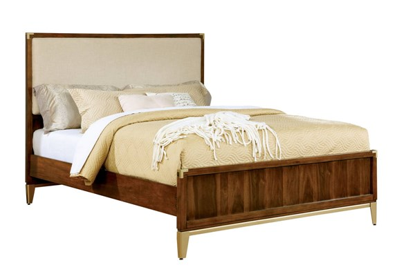Tychus Transitional Dark Oak Fabric Headboard Solid Wood King Bed FOA-CM7559F-EK-BED