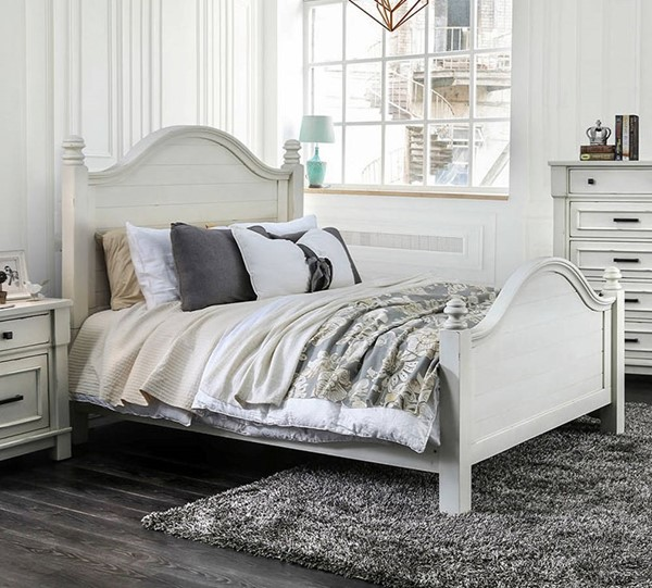 Furniture of America Daria Antique White King Bed FOA-CM7562EK-BED