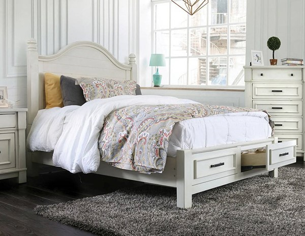 Furniture of America Daria Antique White Cal King Drawer Bed FOA-CM7563CK-BED