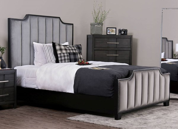 Furniture of America Espin Gray Cal King Bed FOA-CM7565GY-CK-BED