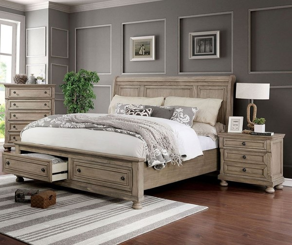 Furniture Of America Willa Gray 2pc Bedroom Set with King Bed FOA-CM7568-BR-S2