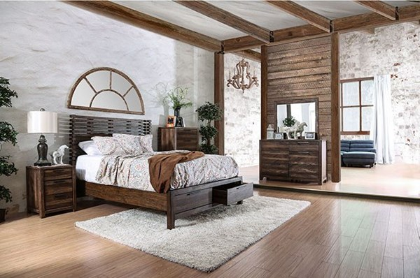 Hankinson Rustic Natural Tone Solid Wood Master Bedroom Set FOA-CM7576-BR