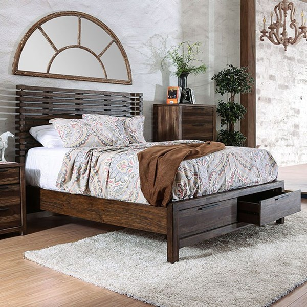 Hankinson Rustic Natural Tone Solid Wood Beds w/Drawers FOA-CM7576DR-BED-VAR