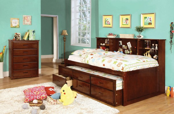 Furniture of America Hervey Trundle Drawers Twin Bed FOA-CM7583CH-BED