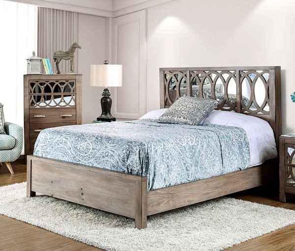 Zaragoza Rustic Natural Tone Mirror Solid Wood Beds FOA-CM7585-BED-VAR