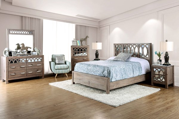 Zaragoza Rustic Natural Tone Mirror Solid Wood Master Bedroom Set FOA-CM7585-BR