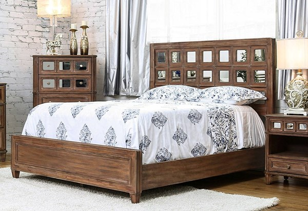 Frontera Transitional Rustic Oak Solid Wood Mirror King Bed FOA-CM7586EK-BED
