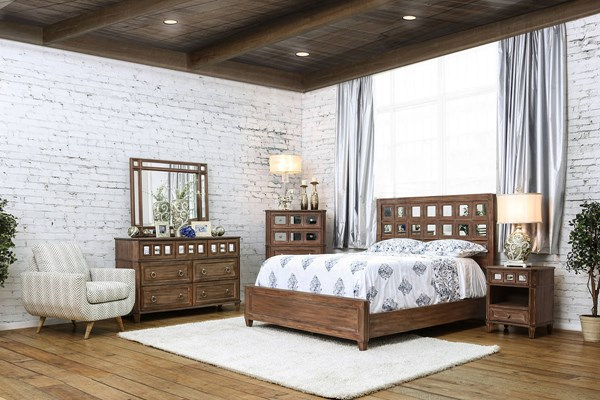 Frontera Transitional Rustic Oak Solid Wood Mirror Master Bedroom Set FOA-CM7586-BR