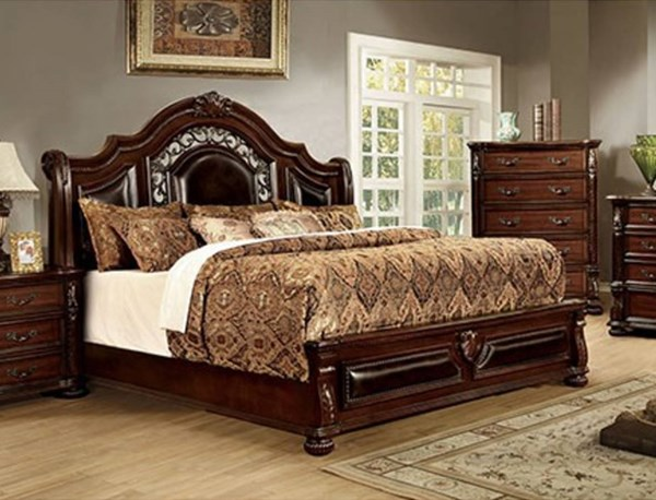 Flandreau Traditional Brown Cherry Solid Wood Leatherette Queen Bed FOA-CM7588Q-BED