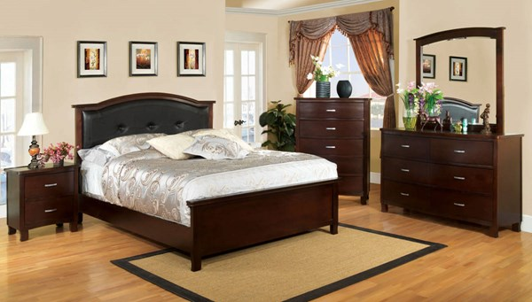 Crest View Transitional Brown Cherry Leatherette Solid Wood Beds FOA-CM7599-BED-VAR
