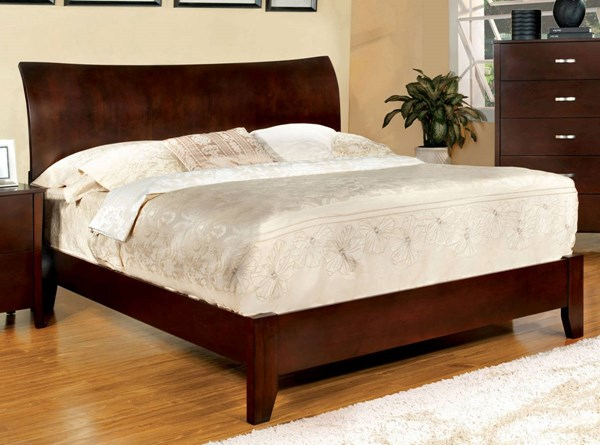 Midland Contemporary Brown Cherry Solid Wood Beds FOA-CM7600-BED-VAR