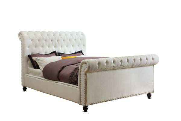 Bennett Transitional White Fabric Solid Wood King Bed FOA-CM7603WH-EK-BED