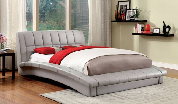 Vizela Contemporary Gray Leatherette Solid Wood Cal King Bed FOA-CM7604GY-CK-BED