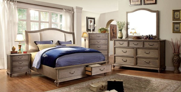 Furniture of America Belgrade I Fabric Solid Wood King Bed FOA-CM7614EK-BED