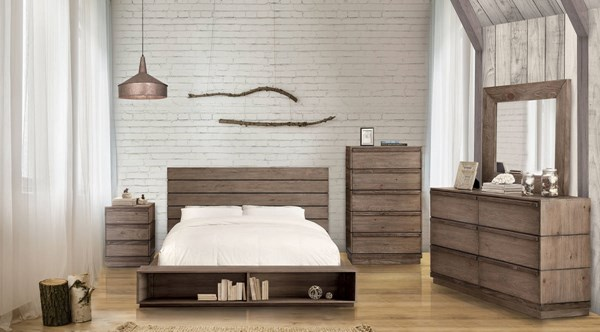 Coimbra Rustic Natural Tone Solid Wood Bookcase Footboard King Bed FOA-CM7623BC-EK-BED