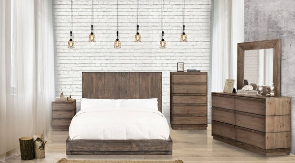 Amarante Rustic Natural Tone Solid Wood Veneer King Bed FOA-CM7624EK-BED