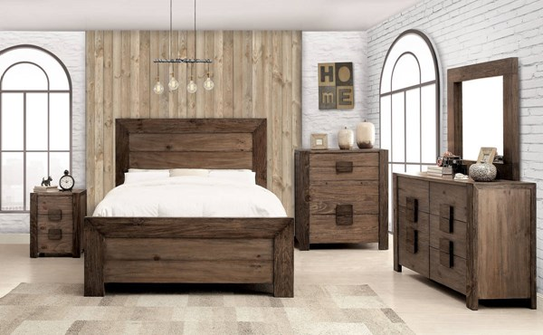 aveiro rustic natural tone solid wood 2pc bedroom set w queen bed the classy home. Black Bedroom Furniture Sets. Home Design Ideas