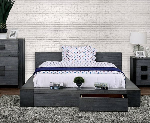 Furniture of America Janeiro Gray Cal King Drawer Bed FOA-CM7629GY-CK-BED