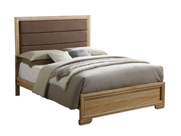 Renee Contemporary Natural Fabric Faux Wood Cal King Bed FOA-CM7660CK-BED