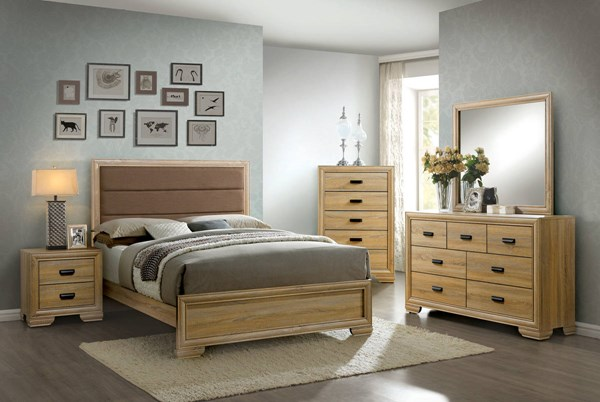 Renee Contemporary Natural Fabric Faux Wood Master Bedroom Set FOA-CM7660-BR