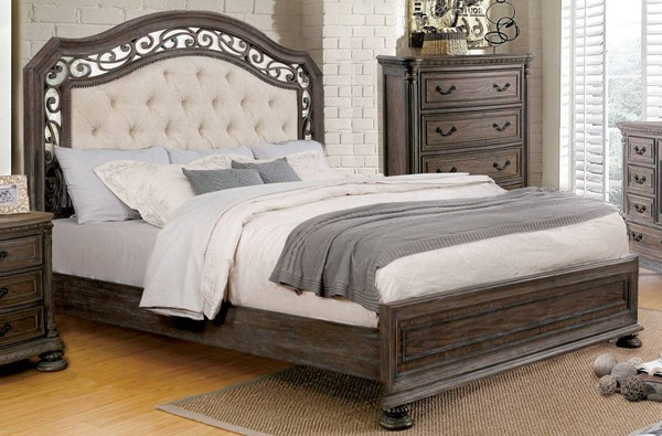 Persephone Rustic Natural Tone Solid Wood Fabric Queen Bed FOA-CM7661Q-BED