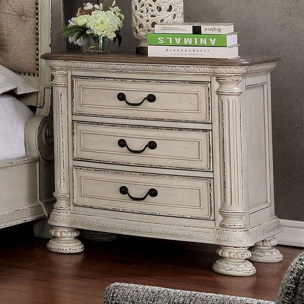 Furniture Of America Lysandra White Rustic Natural Tone Night Stand with USB FOA-CM7661WH-N