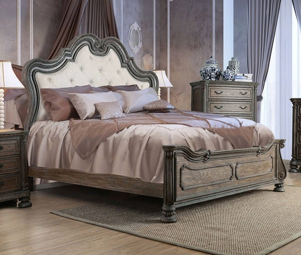 Ariadne Traditional Natural Tone Fabric Solid Wood Veneer King Bed FOA-CM7662EK-BED