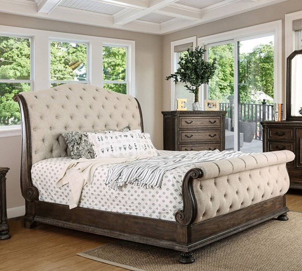 Lysandra Rustic Natural Tone Solid Wood Fabric Beds FOA-CM7663-BED-VAR
