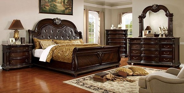 Fromberg Brown Cherry Solid Wood Leatherette Master Bedroom Set FOA-CM7670-BR