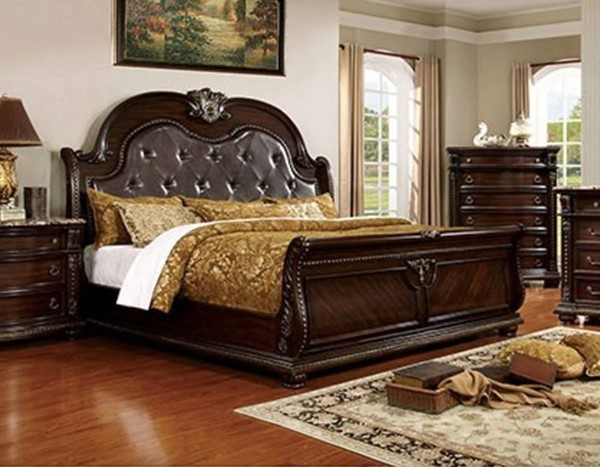 Fromberg Brown Cherry Solid Wood Leatherette Queen Bed FOA-CM7670Q-BED