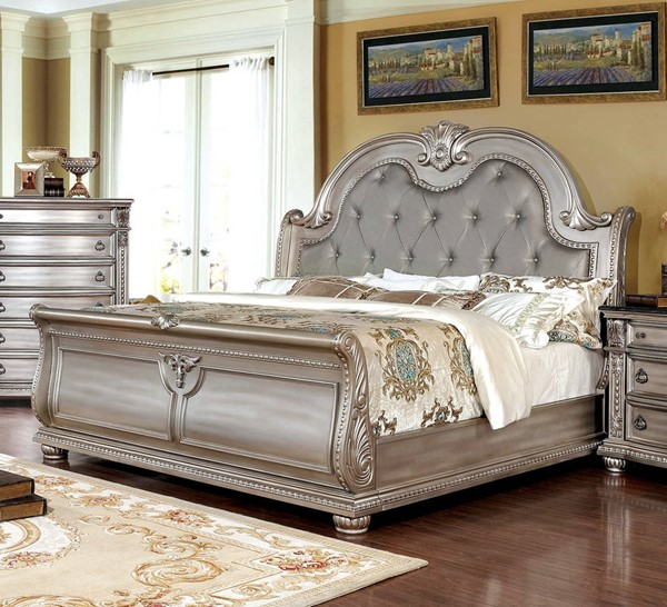 Furniture Of America Fromberg Vinyl Cal King Bed FOA-CM7670CPN-CK-BED