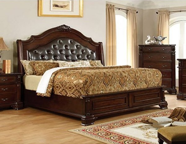Edinburgh Traditional Brown Cherry Leatherette Solid Wood Cal King Bed FOA-CM7671CK-BED