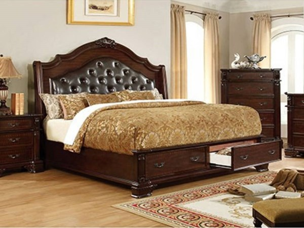 Edinburgh Brown Cherry Leatherette Solid Wood Drawer Beds FOA-CM7672-BED-VAR