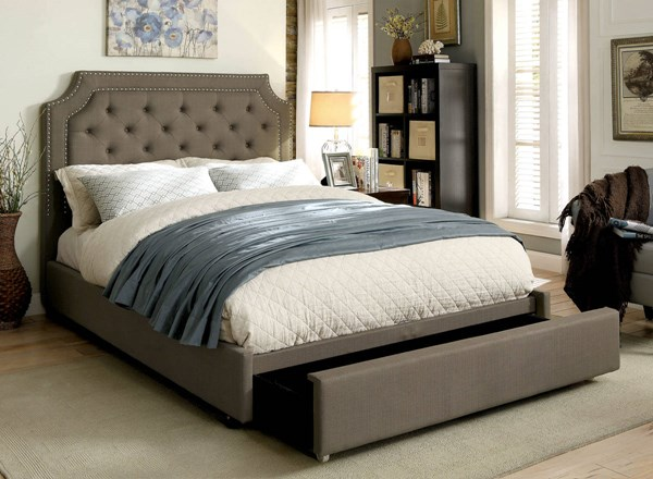 Orianna Transitional Gray Fabric Solid Wood Beds FOA-CM7674-BED-VAR