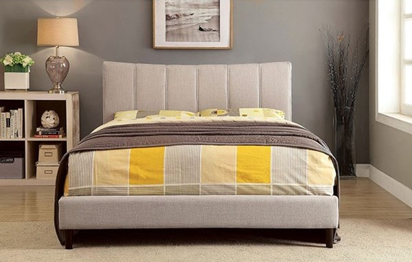 Ennis Contemporary Beige Fabric Solid Wood King Bed FOA-CM7678BG-EK-BED