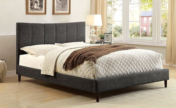 Ennis Contemporary Dark Gray Fabric Solid Wood King Bed FOA-CM7678GY-EK-BED