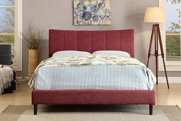 Ennis Contemporary Red Fabric Solid Wood Cal King Bed FOA-CM7678RD-CK-BED