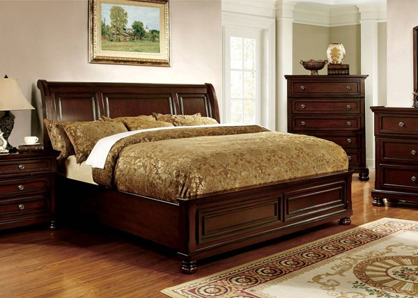 Northville Transitional Dark Cherry Solid Wood Cal King Bed FOA-CM7682CK-BED