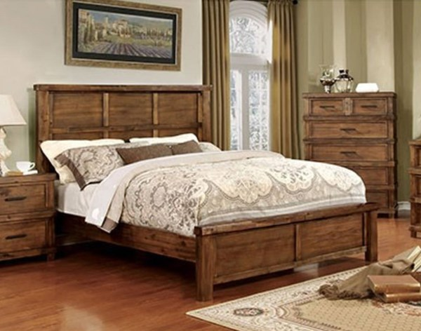 Baddock Transitional Antique Oak Solid Wood Queen Bed FOA-CM7691Q-BED