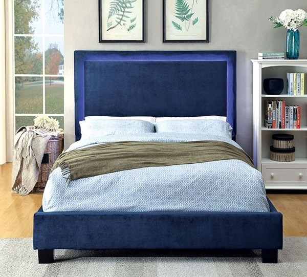 Erglow I Contemporary Navy Flannelette Solid Wood Cal King Bed FOA-CM7695NV-CK-BED