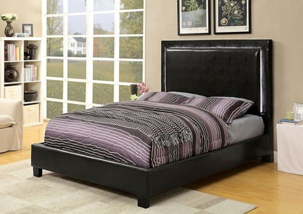 Erglow II Contemporary Espresso Leatherette Solid Wood Beds FOA-CM7696-BED-VAR