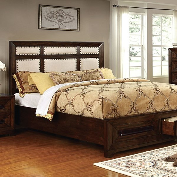 Orlaith Transitional Walnut Solid Wood Ivory Fabric Cal King Bed FOA-CM7697CK-BED