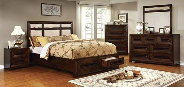 Orlaith Transitional Walnut Solid Wood Ivory Fabric Master Bedroom Set FOA-CM7697-BR