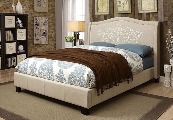 Karissa Transitional Beige Fabric Solid Wood Queen Bed FOA-CM7698Q-BED