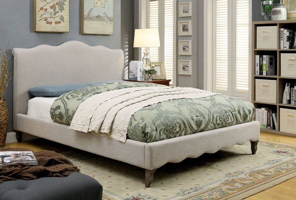 Rolanda Contemporary Beige Fabric Solid Wood King Bed FOA-CM7722EK-BED
