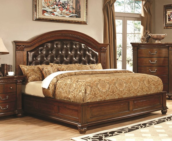 Furniture of America Grandom Cal King Leatherette Bed FOA-CM7735CK-BED