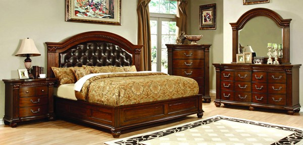 Grandom Traditional Cherry Solid Wood Leatherette Master Bedroom Set FOA-CM773-BR