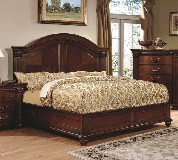 Grandom Traditional Cherry Solid Wood Queen Bed FOA-CM7736Q-BED