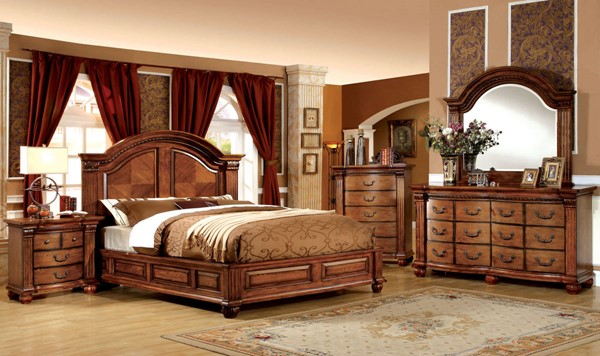 Bellagrand Traditional Antique Tobacco Oak Solid Wood Beds FOA-CM7738-BED-VAR
